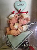 NEW TWINS Ornament Kurt Adler Inc Bears Heart Buggy Pram Holly Bearies (2194) in Aurora, Illinois