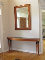 Custom Estate Cherry Wood Entry Table and Mirror Set in Schaumburg, Illinois