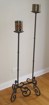 2 Tall Floor Candle Stands / Iron in Chicago, Illinois