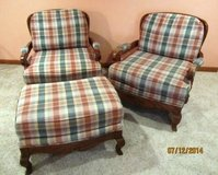 Thomasville Wood and Fabric Arm Chair Set in Naperville, Illinois