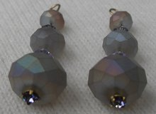 Swarovski Crystal Drop Earrings Lavender with AB Finish on Lt Grey Faceted Crystal Beads in Houston, Texas
