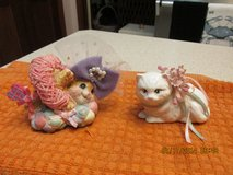 2 Captivating Cat Figurines -- One Porcelain -- One Resin in Kingwood, Texas